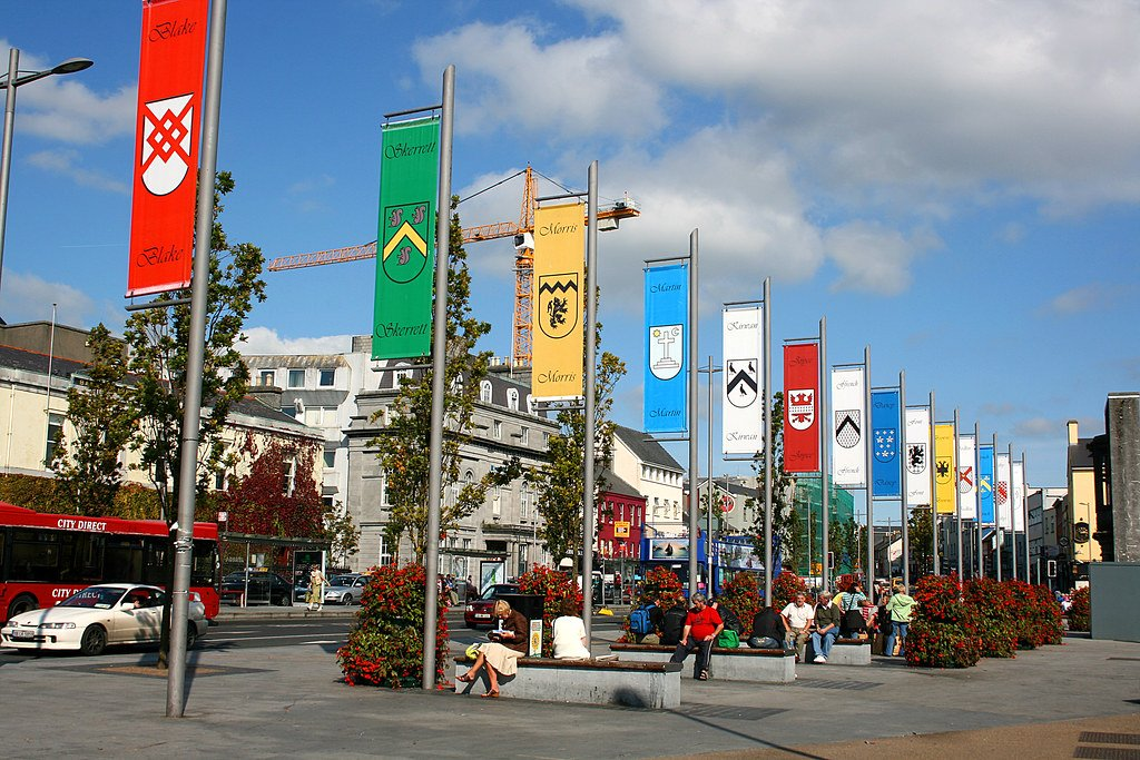 Flags of Tribe Families at Eyre Square - Visit Galway